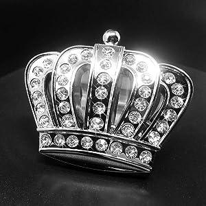 Bling Princess Crown Car Emblem, Bling Car Accessories, Rhinestone Silver Chrome Metal Car Decal Sticker, Car Bling Exterior & Interior Car Accessory, Crystal Crown Emblem (Crown-Large)