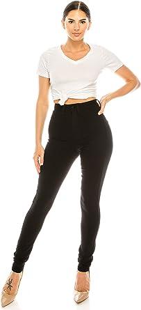 Ladies Skinny Trouser Jeans 5 Pocket Design Denim Black High Rise Stretch Women