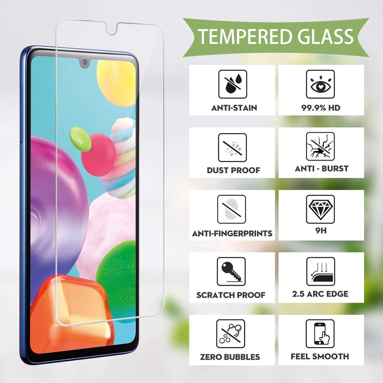 6.1 Pulgadas Suave TPU Transparente Gel Silicona Anti-ca/ída Protectora Carcasa para Samsung Galaxy A41 2 Pack Cristal Templado Protector de Pantalla Reshias Funda para Samsung A41 con
