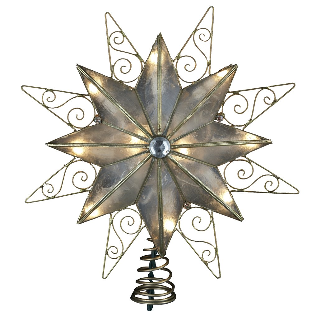 Kurt Adler 10-Light 8-Point Capiz Star with Wire Christmas Treetop, 9-Inch