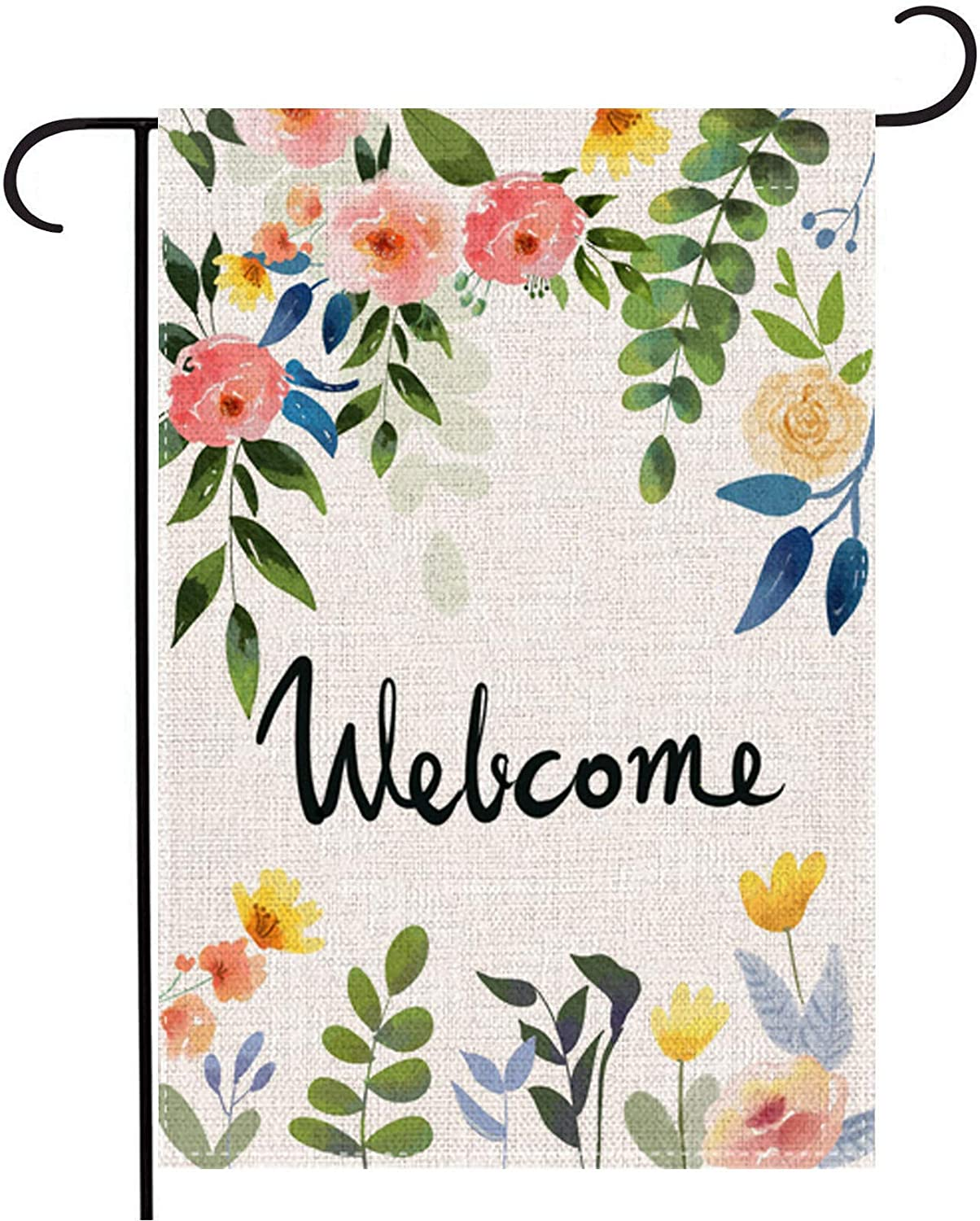 AUOIKK Wedding Birthday Flower Welcome Garden Flag Small Vertical Double Sided, Spring Yard Sign Porch Flag Home Party Hanging Wall Flags Banner Outdoor Decoration 12.5 x 18 Inch