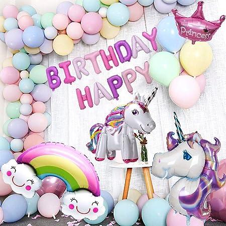 Unicornio Cumpleaños Decoraciones De Fiesta, DAYPICKER Globos de unicornio 3D con globos de arcoiris de corona de feliz cumpleaños, globos de macaron ...