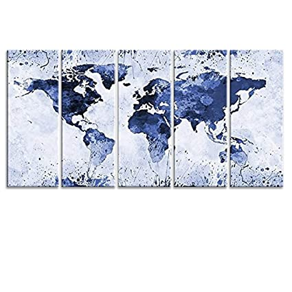 General World Map.Amazon Com Picpeak General World Map Blue Large Canvas Wall Art