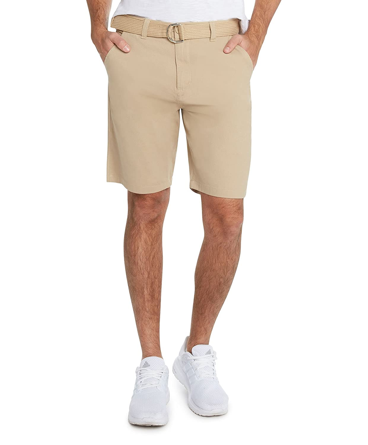 9 Crowns Men's Flat Front Modern fit Twill Chino Belted Shorts Essentials