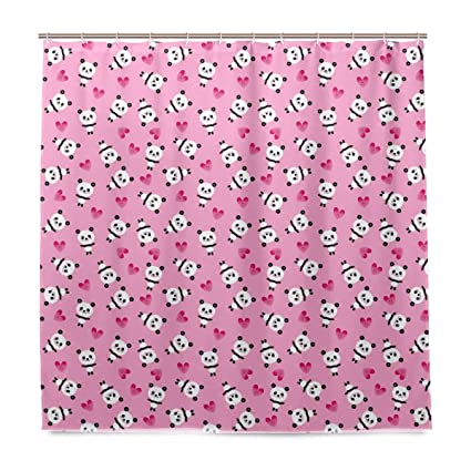 White And Black Panda Bear Heart Pink Shower Curtain Polyester Fabric Liner