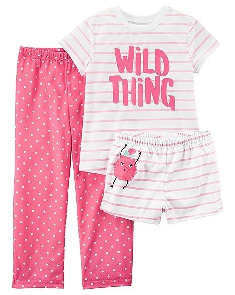 446aa7b34e Amazon.com  Carter s Girls  3-Piece Flutter Sleeve Jersey Pajamas  Clothing