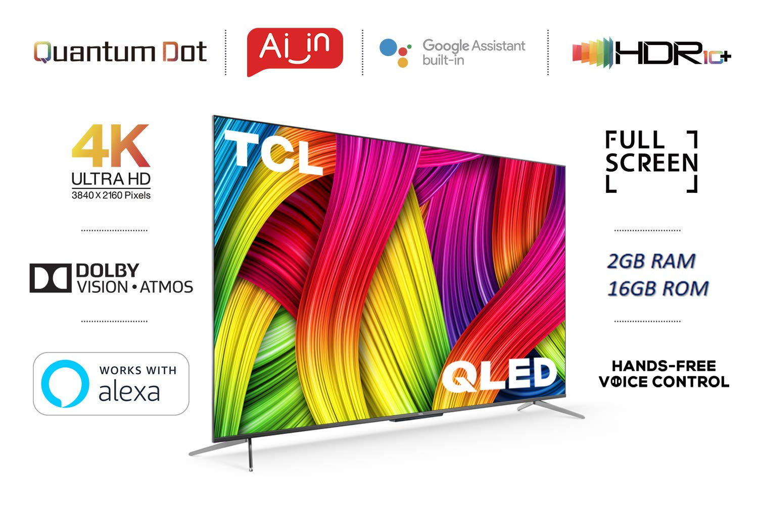 TCL 125.7 cm (50 inches) 4K Ultra HD Certified Android Smart QLED TV 50C715
