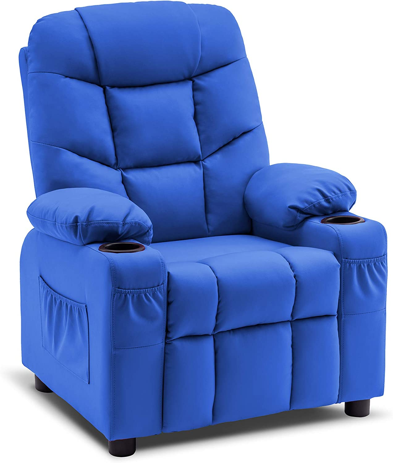 Mcombo Big Kids Recliner Chair with Cup Holders for Boys and Girls Room, 2 Side Pockets, 3+ Age Group, Faux Leather 7366 (Blue)