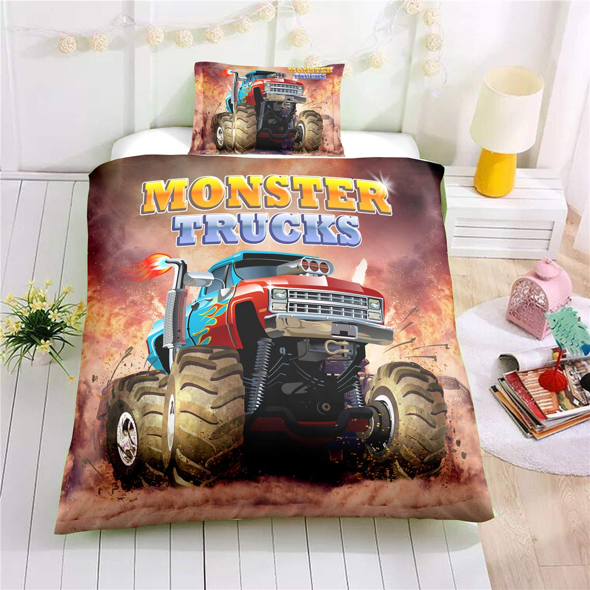 Helehome Monster Truck Duvet Cover Set Twin Size, Boys Hobby Sports Bedding Set with Flame Exotic Automobile Style Image Decorative 2 Piece Bedding Set with 1 Pillow Shams
