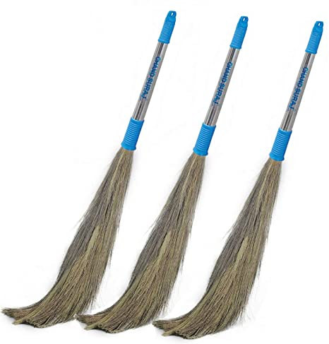 Chand Suraj 3 pc Pack of Stella Grass Brooms for Floor Cleaning