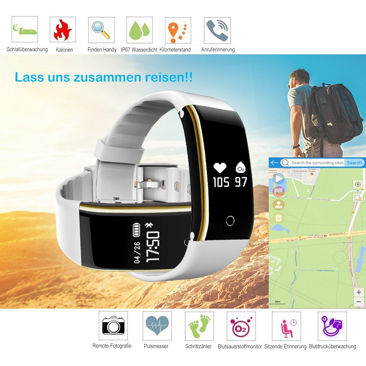 kingberwi resistente al agua Actividad tracker smartar mbänder Bluetooth Fitness Activity Tracker con pulsómetro – Tensiómetro arterial Monitor de ...