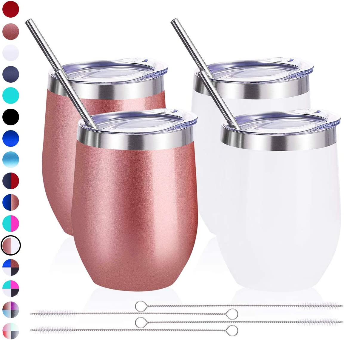 Zonegrace 4 pack 12 oz Stainless Steel Stemless Wine Glass Tumbler Double Wall Vacuum Insulated Wine Tumbler with Lids Set of 4 for Coffee, Wine, Cocktails, Ice Cream Including 4 Straws