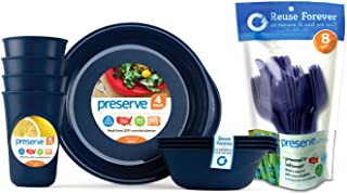 product image for Preserve Reusable BPA Free Everyday Tableware Set with Cutlery Made from Recycled Plastic: 4 Plates, 4 Bowls, 4 Cups and 24 pieces of Cutlery, Midnight Blue