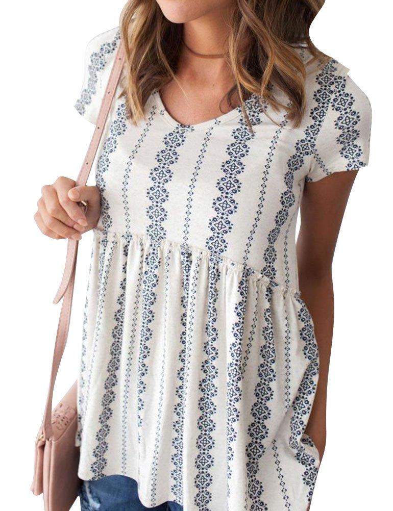 Nlife Women's Summer Floral Print Top V Neck Blouse Short Sleeve Tops Peplum Blouse Shirt