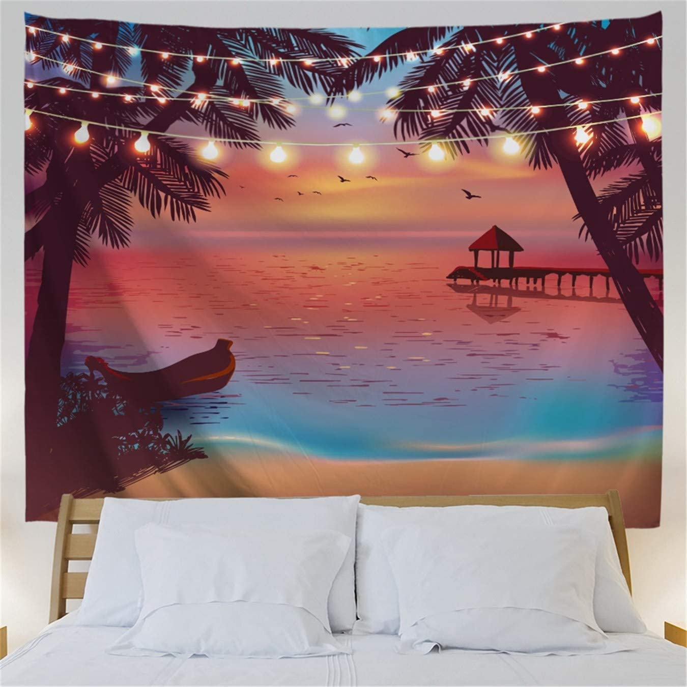 US Ship Sunset Sea Scenery Tapestry Room Wall Hanging Psychedlic Throw Tapestry
