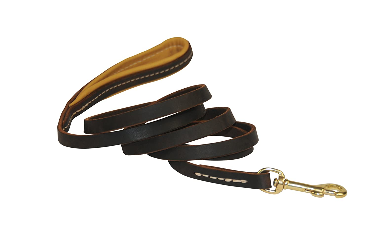 Dean & Tyler Soft Touch Dog Leash, 2-Feet by 1 2-Inch Width with Padded Handle and Solid Brass Snap Hook, Brown