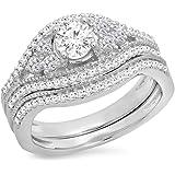 1.10 Carat (ctw) 14K Gold Round White Diamond Ladies Bridal Engagement Ring With Matching Band Set 1 CT