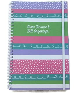 home finance bill organizer with pockets decorated stripes