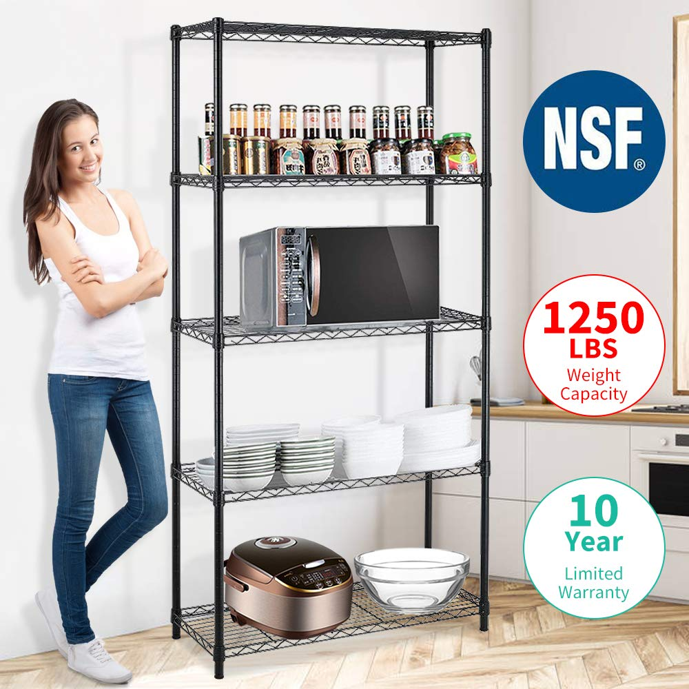 Meet Perfect Black Adjustable 5-Shelf Shelving Unit Storage Rack Utility Rack, Heavy Duty Freestanding Ventilated Metal Wire Rack Multipurpose Shelves Display Rack - 72''H x 36''L x 14''W-Black by Meet Perfect