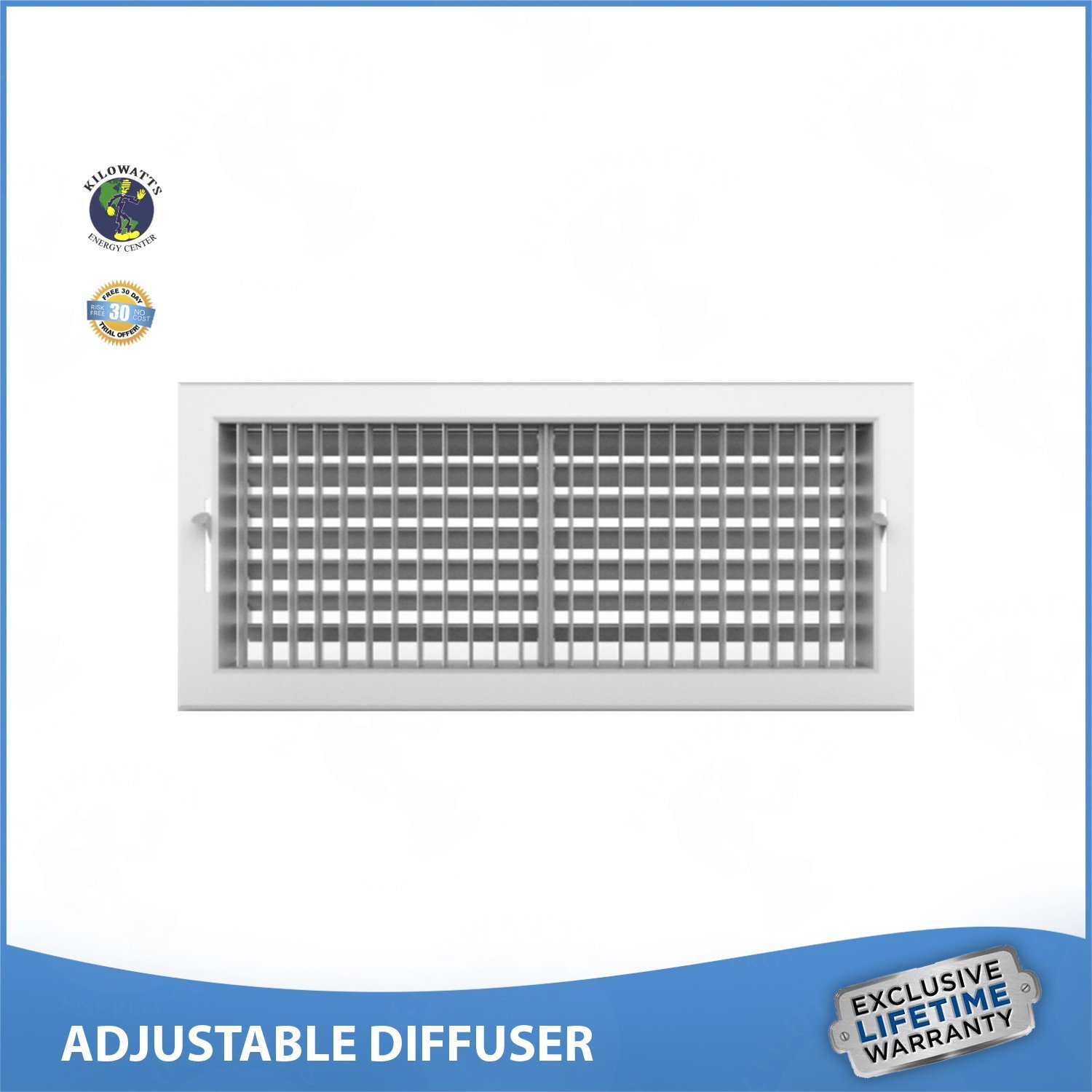 22''w x 10''h ADJUSTABLE DIFFUSER - Vent Duct Cover - Grille Register - Sidewall or Ceiling - High Airflow