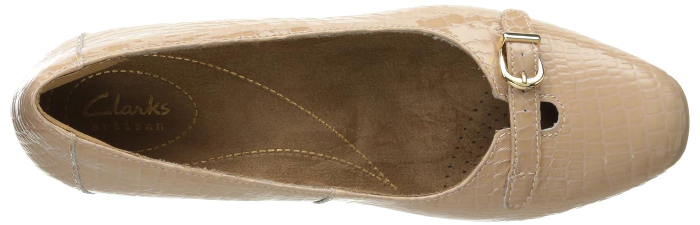 CLARKS Women's Keesha Raine Dress Pump B011SP3LHE 12 B(M) US|Nude Croc Patent Leather