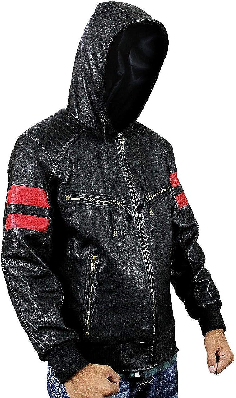 Men Biker Red Stripes Retro Morotrcyle Hoodie Bomber Leather Jacket