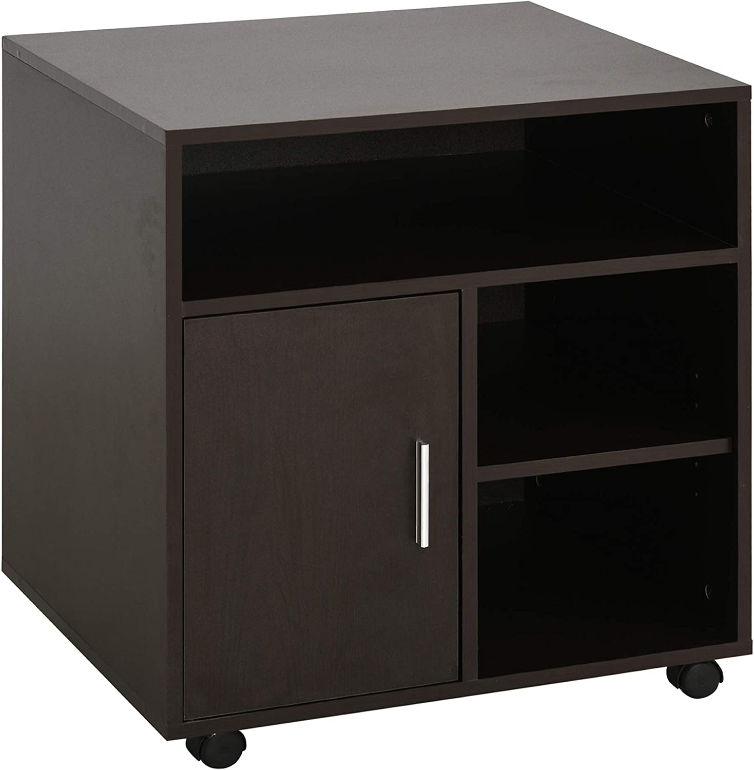 HOMCOM Printer Stand Multipurpose Moveable Filing Cabinet with Ample Inner Storage Space & 4 Easy-Rolling Wheels, Coffee