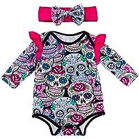 Fenical Mono de triángulo Estampado con Estampado de Calavera de algodón para bebé recién Nacido Talla roja 59