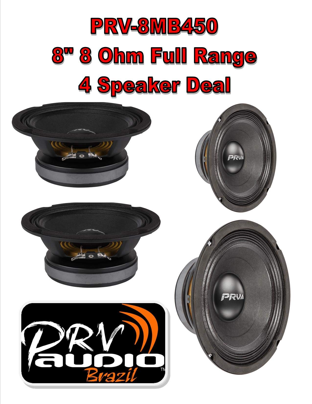 PRV Audio 8MB450 8'' Midbass Mid Range Woofer 8 ohms 1800 Watts 96 dB 2'' Voice Coil 2 Pair