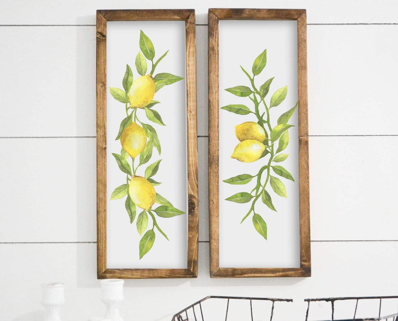 bawansign Lemon Decor Fruit Decor Lemon Framed Sign Farmhouse Decor Rustic Home Decor Greenery Wall Art Framed Signs Wood Signs Wood Decor