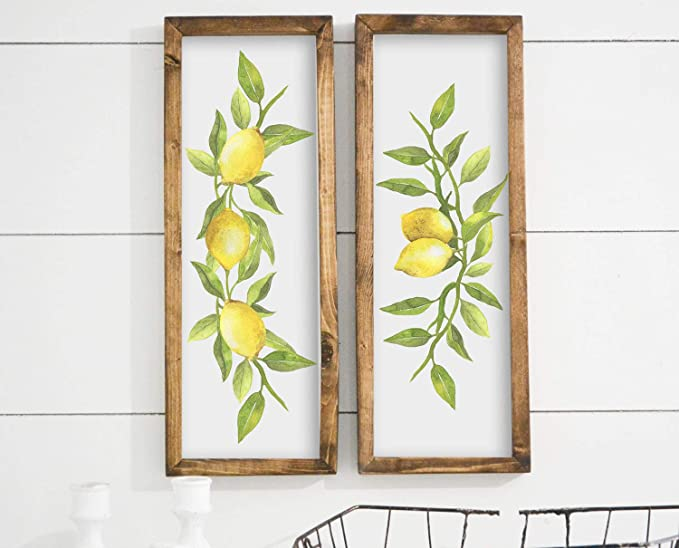 bawansign Lemon Decor Fruit Decor Lemon Framed Sign Farmhouse Decor Rustic Home Decor Greenery Wall Art Framed Signs Wood Signs Wood Decor