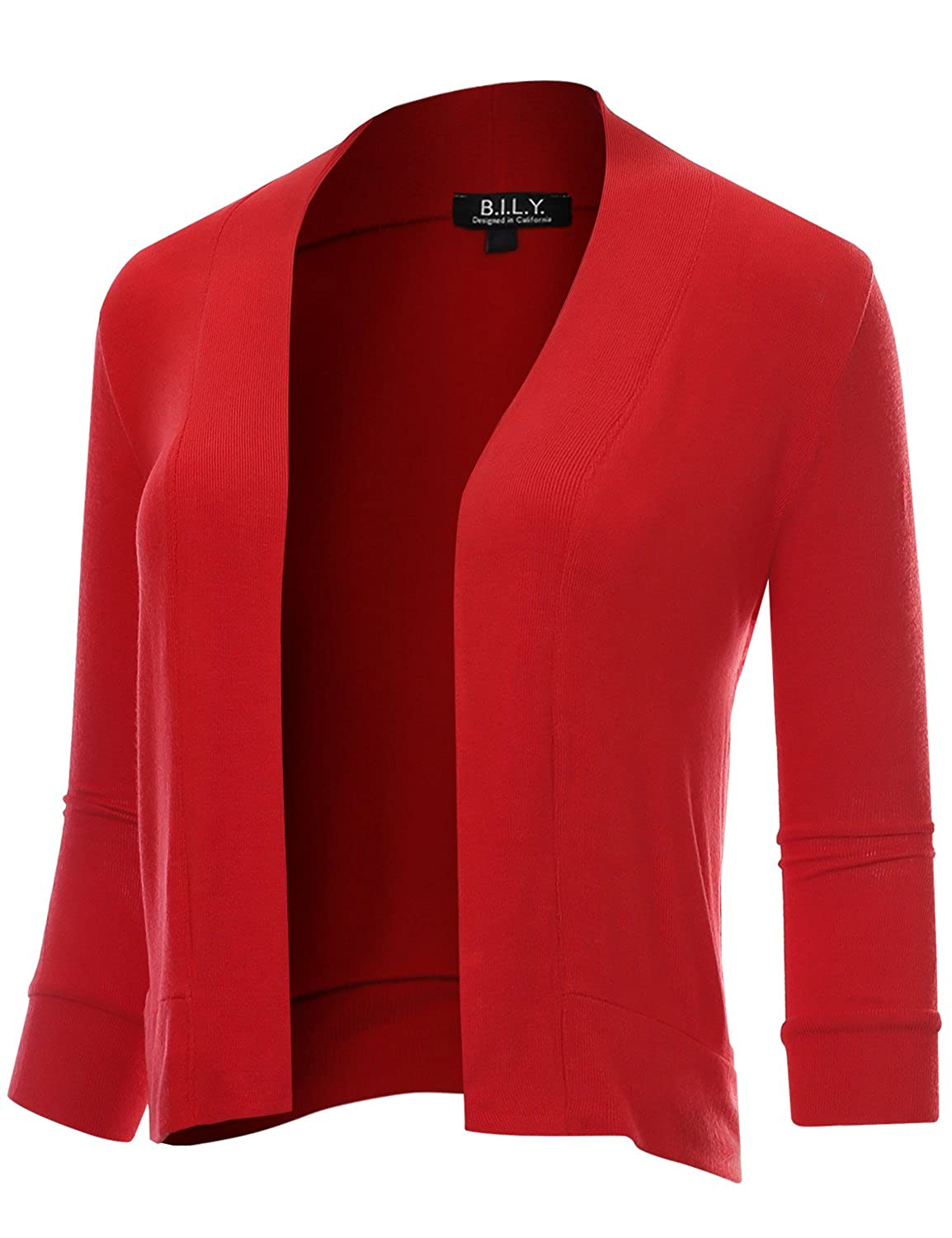 BH B.I.L.Y USA Women's Classic Open Front Cropped 3 4 Sleeve Cardigan Red XXXLarge