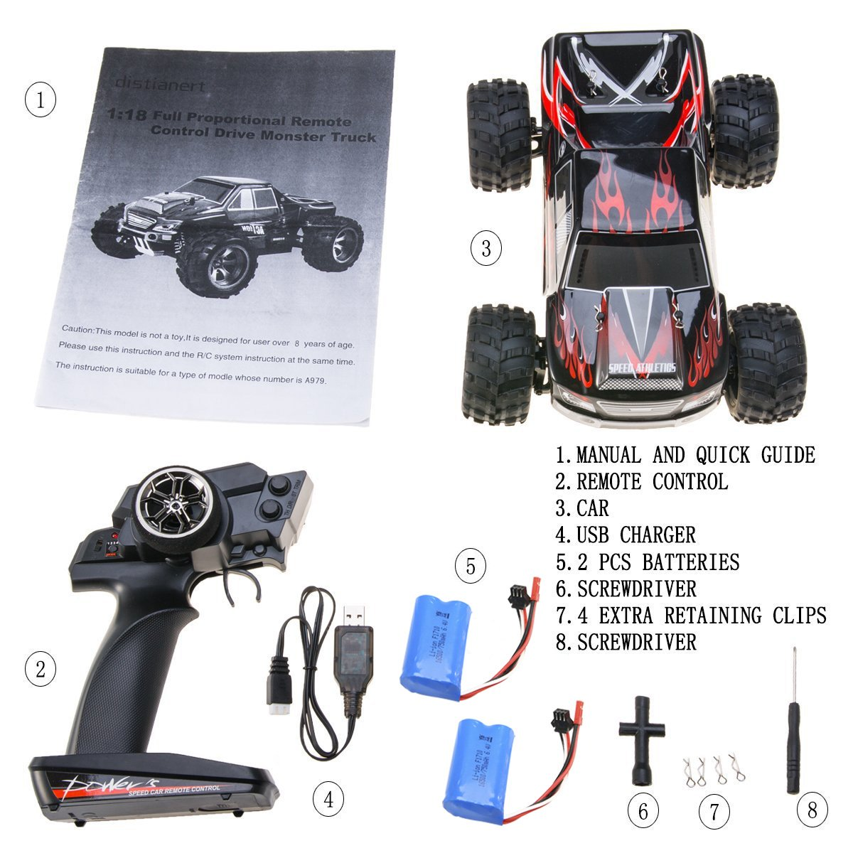 Remote Control Car, Distianert 1/18 Scale 4WD RC Car Electric Racing Car Off Road RC Monster Truck RTR Desert Buggy Vehicle 2.4Ghz 30MPH High Speed with 2 Rechargeable Batteries by Distianert (Image #1)