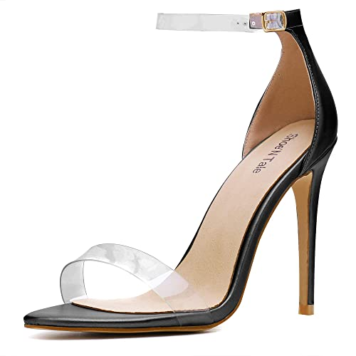 b3f0fe343675f Shoe'N Tale Women's Lucite Clear Ankle Strap High Heel Sandals