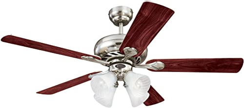 Westinghouse Lighting 7852120 Swirl Four-Light 52-Inch Reversible Five-Blade Indoor Ceiling Fan, Brushed Nickel with Frosted Swirl Glass Shades