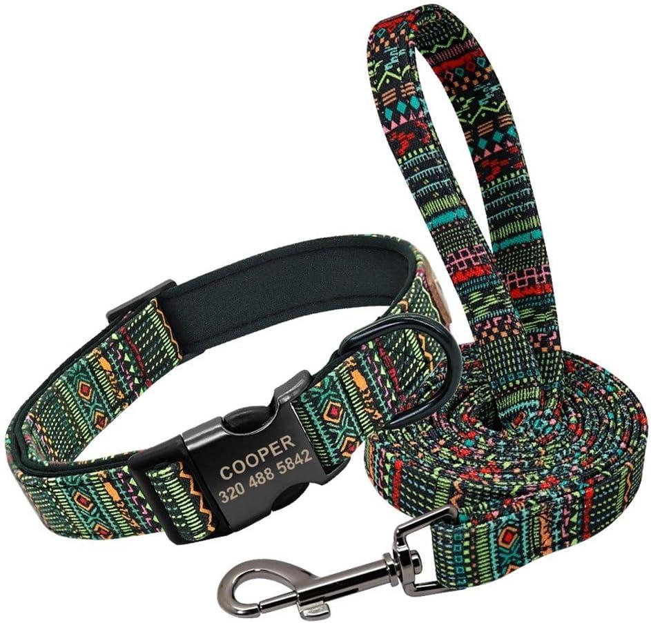 SJZS Collar de Perro Collar de Perro Personalizado con Correa de Nylon for Mascotas ID Personalizado Collares de Colores Caminar Correa Impreso Perros Peque/ño Mediano for Perros Grandes