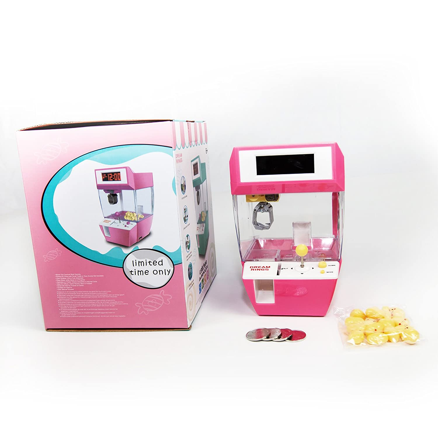 ESC Electronic Alarm Clock with Claw Catcher Game Candy Grabber Toy Pink Dream Rings JS1812