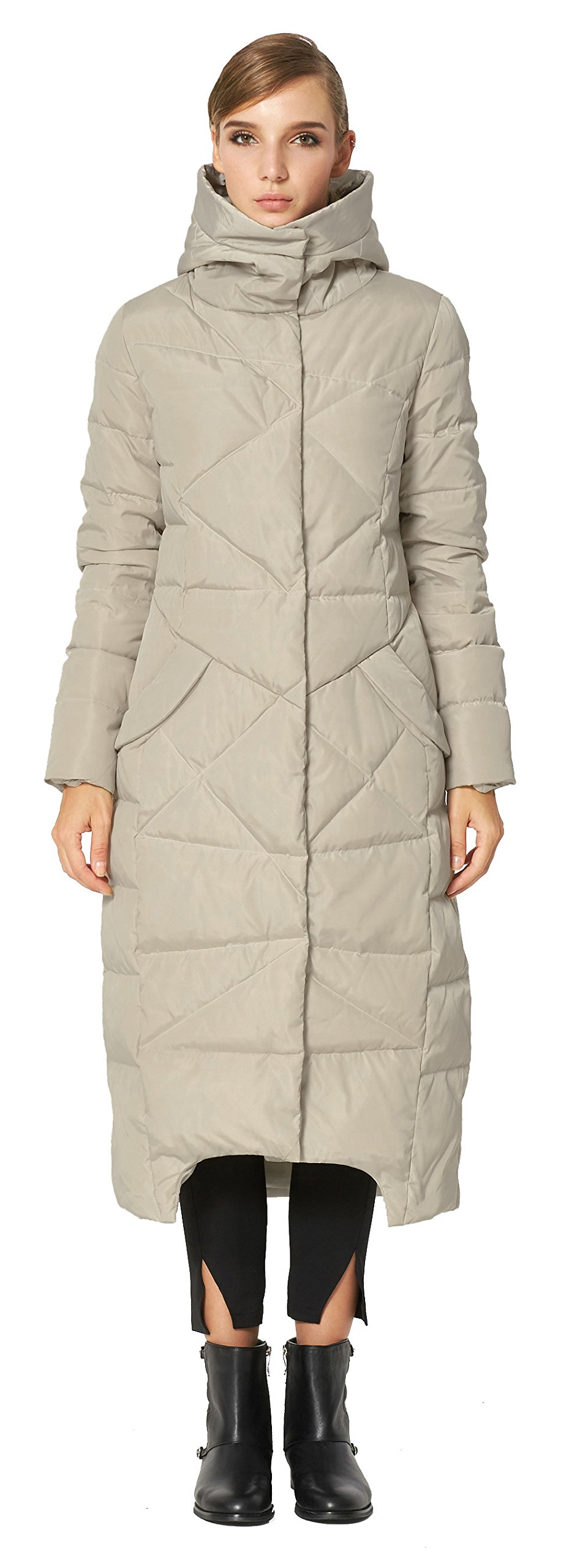 Orolay Women's Puffer Down Coat Winter Maxi Jacket with Hood Beige XS