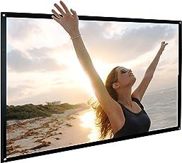 Pantalla de proyección de 100 pulgadas Cine en casa NIDRBO 16: 9 con proyector plegable portátil, sin plegado HD, proyección en el interior con proyección de doble cara, solo 0,3 kg