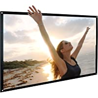 Pantalla de proyección de 120 pulgadas Cine en casa NIDRBO 16: 9 con proyector plegable portátil, sin plegado HD, proyección en el interior con proyección de doble cara, solo 0,5 kg