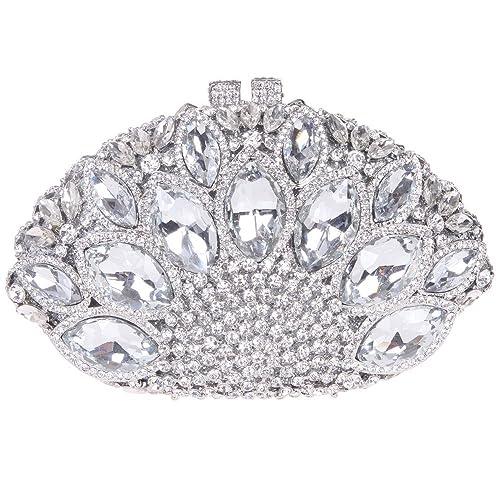 Santimon Carteras de Mano Bolsos de Mujer Clutch De Piedras Preciosas De Diamantes Mar Shell Forma