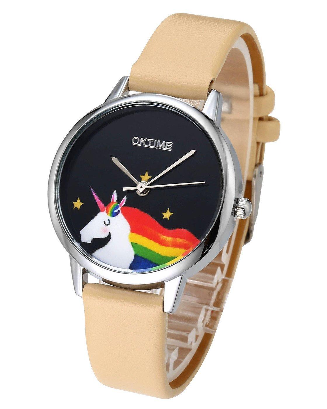 JSDDE Uhren, Cute Farbe Damen Armbanduhr Cartoon Einhorn Design Kleid Uhren Wasserdicht PU Lederband Silber Quarz Uhr,Khaki
