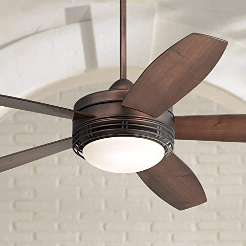 60 Casa Province Modern Outdoor Ceiling Fan with Light LED Remote Control Oil Brushed Bronze Reversible Dark Walnut Medium Maple Opal Frosted Glass Damp Rated for Patio Porch – Casa Vieja