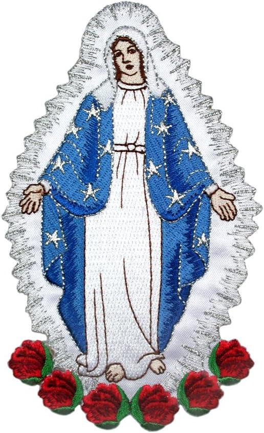 Full bordado Virgin Mary Applique Patch Plata Metálico Diseño de Santa Maria: Amazon.es: Juguetes y juegos