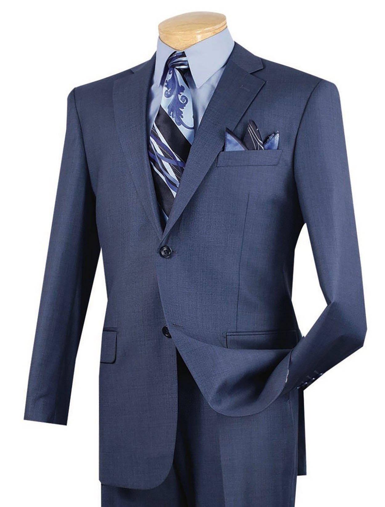 VINCI Men's Textured Weave 2 Button Classic-Fit Suit New [Color Blue | Size: 46 Regular/40 Waist]