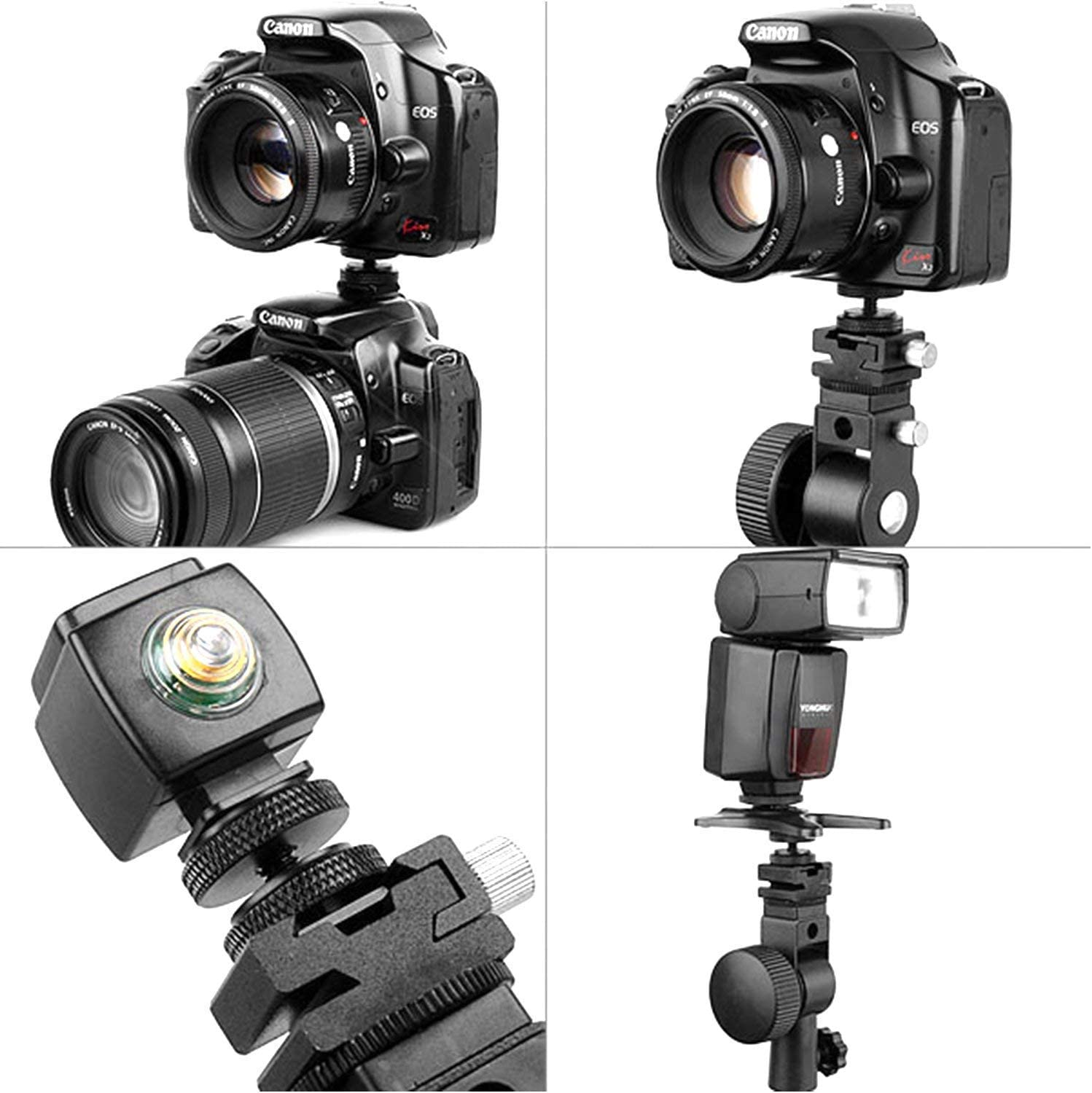Semoic 5 Pack 1//4 inch Flash Hot Shoe Mount Adapter to Tripod Screw Converter Adapters with Double Nuts for DSLR Camera Rig Monitor LED Video Light