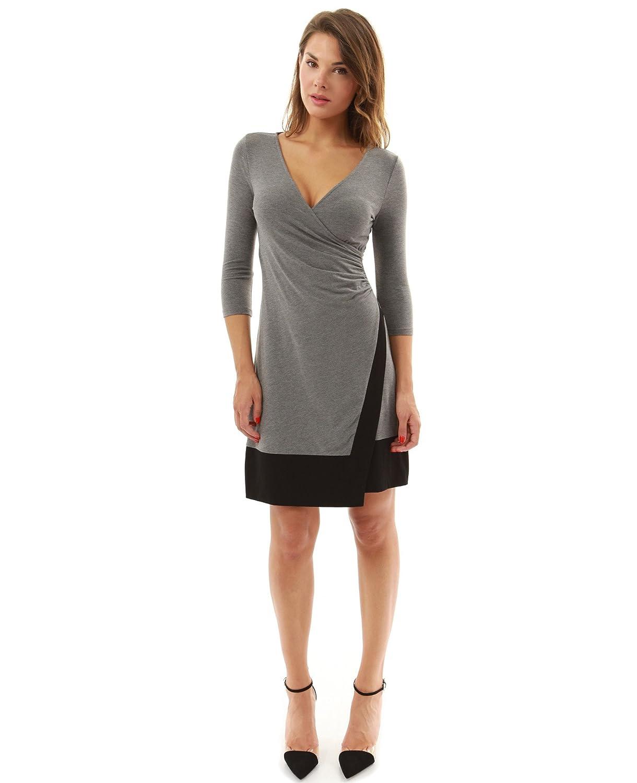PattyBoutik Women's V Neck 3/4 Sleeve A-Line Wrap Dress
