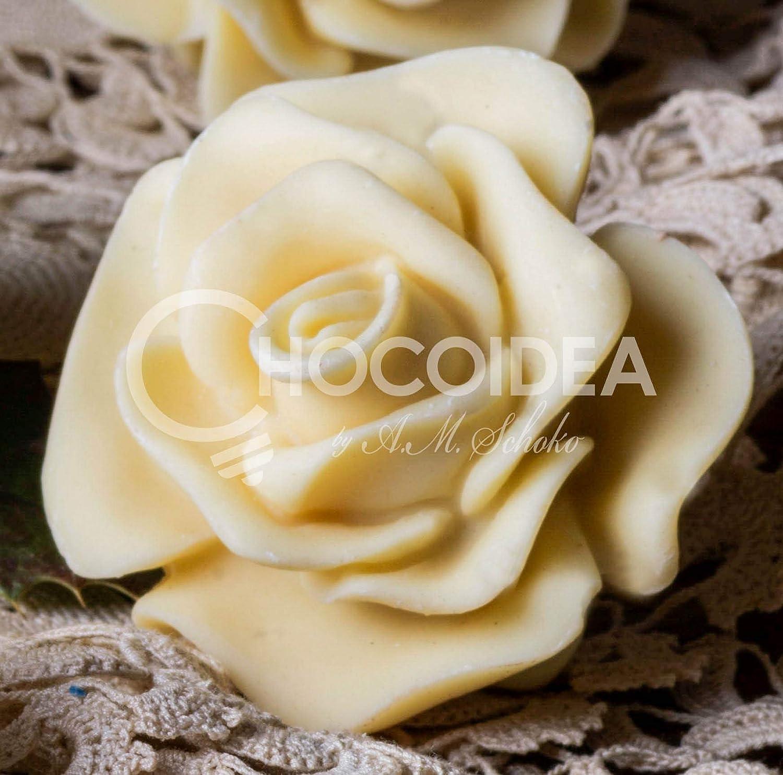 Choco Rosa/Choco Rose, 100% artesanal, hecha a mano con chocolate Blanco o Negro, fino belga Barry Callebaut (36g) 5,1x4,8x4 cm: Amazon.es: Alimentación y ...