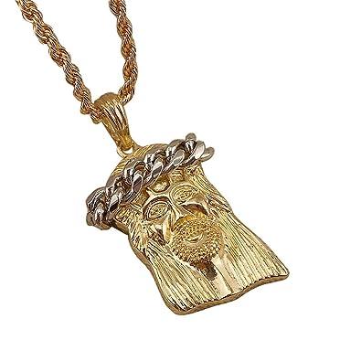 Mens jesus head pendant chain hip hop necklace 22inch amazon mens jesus head pendant chain hip hop necklace 22inch aloadofball Images