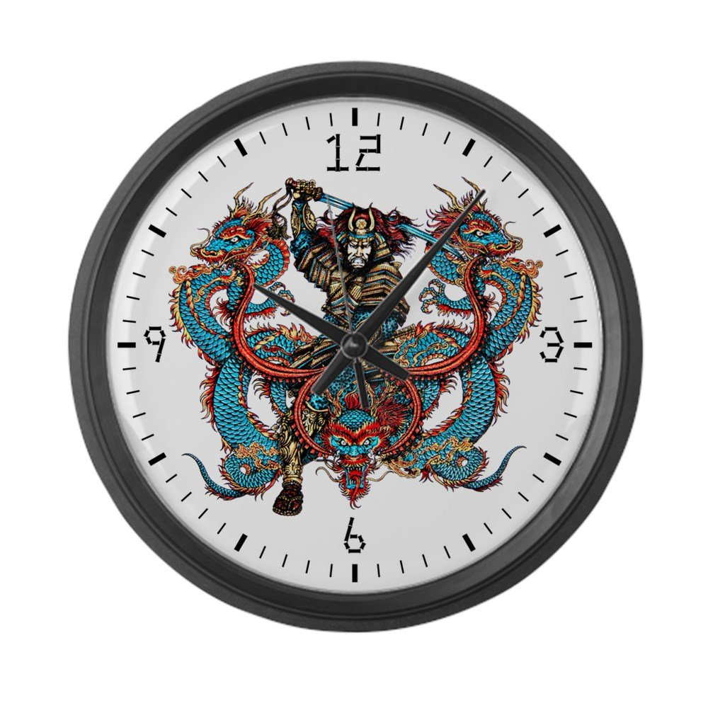 Large Wall Clock Japanese Samurai with Dragons